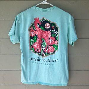 0b8dbb23 Simply Southern Tops - Simply Southern Giraffe & Julep Flower Tee Shirt